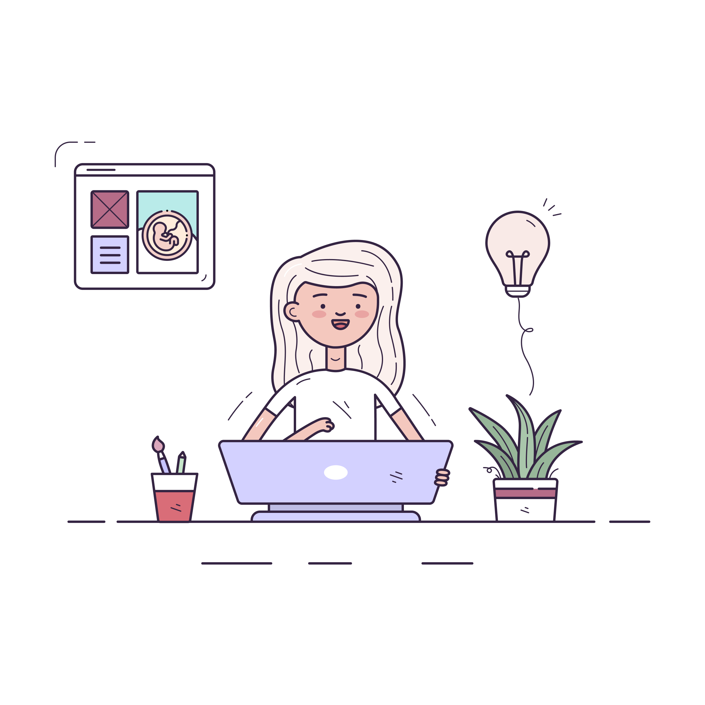 Vector Image - Girl taking virtual class