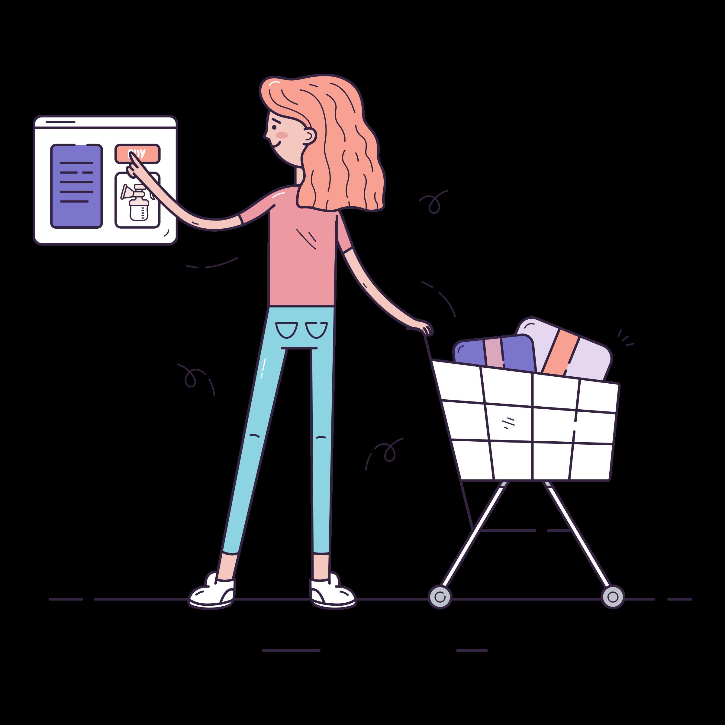 Vector image - Woman buying online